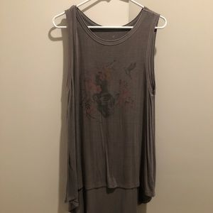 Gray Floral Skull Graphic Hi-Low Tank Top